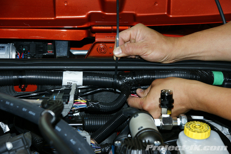 arb high output on board air compressor under the hood jk secure the rest of your arb air compressor wiring harness by zip tying it to the wiring harness attached to your firewall
