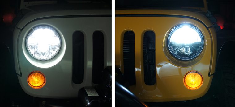 Old Jeep Night Headlights : Truck lite old style vs new led headlight side by
