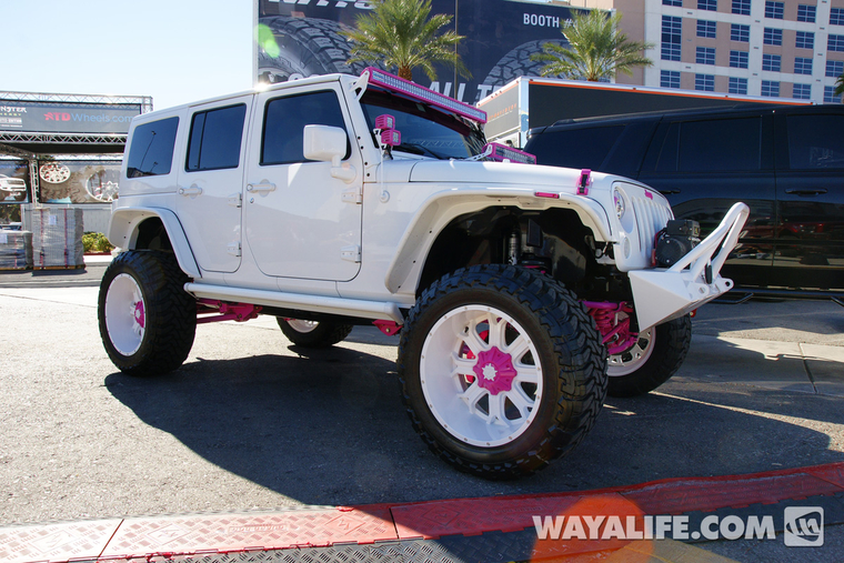 2014 SEMA White  Pink DUB Jeep JK Wrangler Unlimited