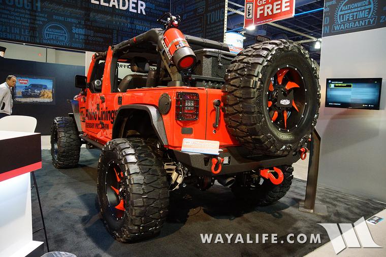 2015 Sema Rhino Lining Red Jeep Jk Wrangler Unlimited