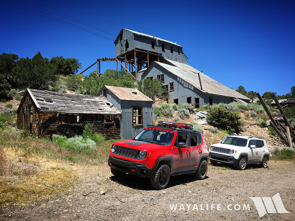 Jeep Renegade in front of the Belmont Mill near Hamilton, NV