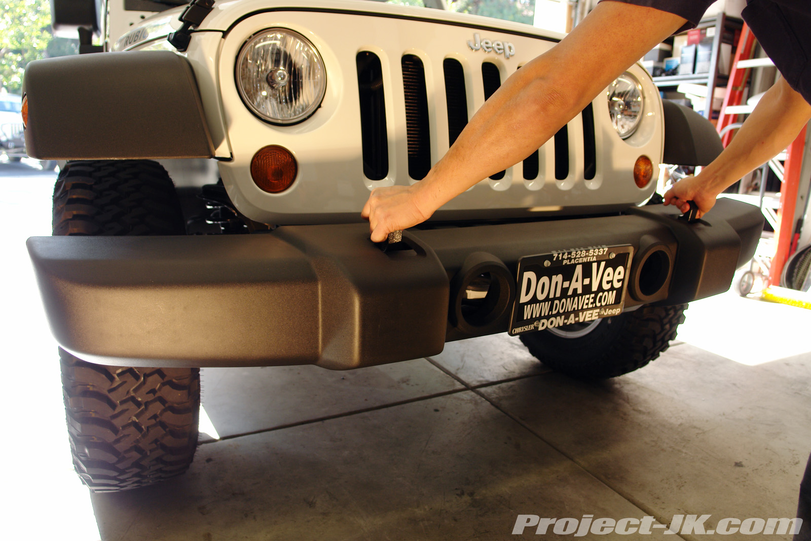 Shrockworks Jeep Jk Wrangler Stubby Front Bumper Installation Write Suspension Diagram Tj Carefully Pull Off Your Wranglers The Frame Rails If Came Equipped With Factory Tow Hooks Grab And Use Both Of Them To